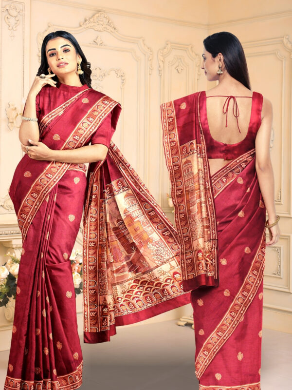 Handloom Malwari Silk Saree with Intricate Old Architecture Design Pallu 4