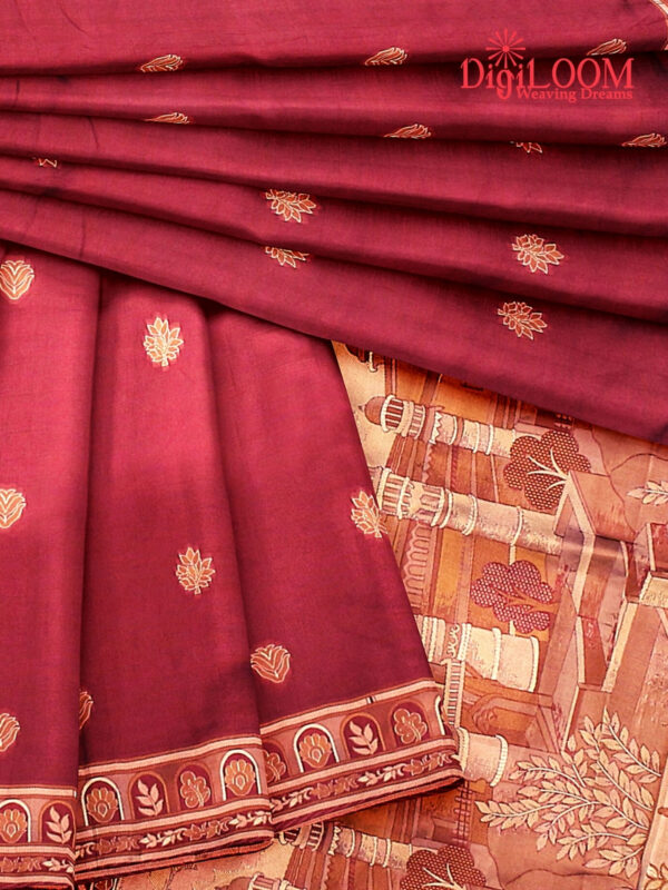Handloom Malwari Silk Saree with Intricate Old Architecture Design Pallu 6