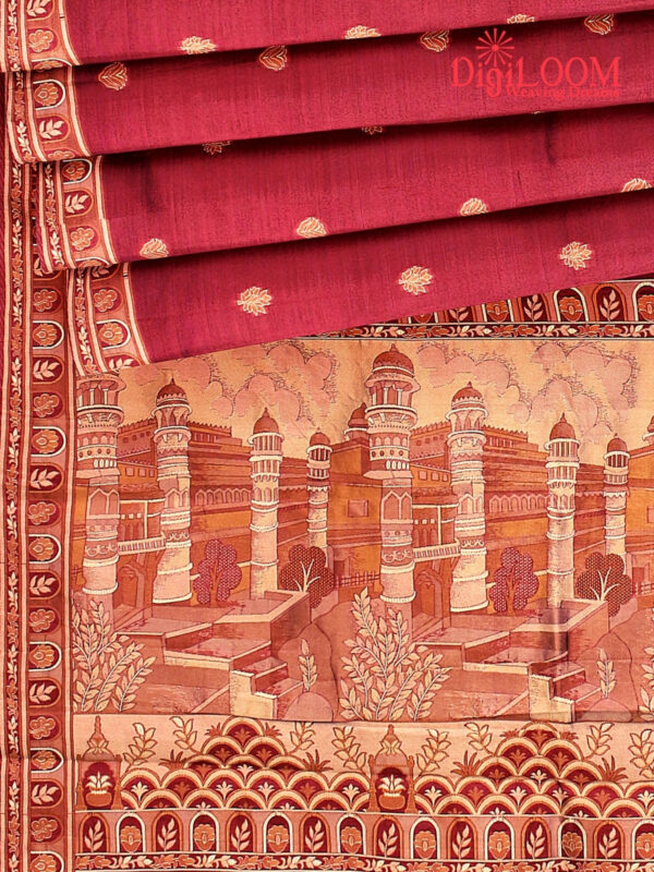 Handloom Malwari Silk Saree with Intricate Old Architecture Design Pallu 7