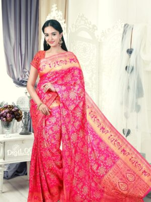 Handloom Malwari Silk in fuchsia pink colour with traditional tribal motifs 1