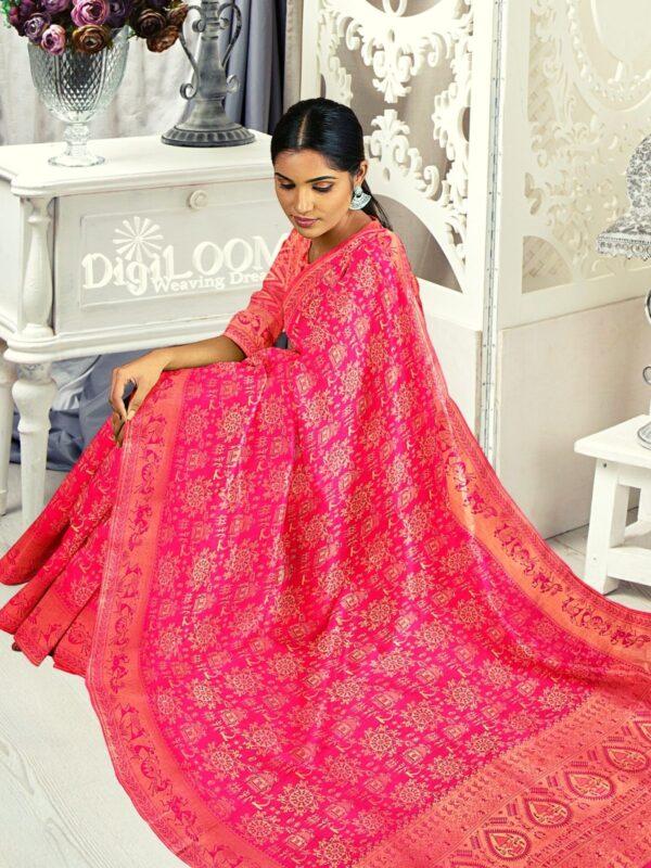 Handloom Malwari Silk in fuchsia pink colour with traditional tribal motifs 2