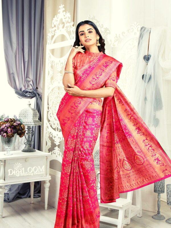 Handloom Malwari Silk in fuchsia pink colour with traditional tribal motifs 3