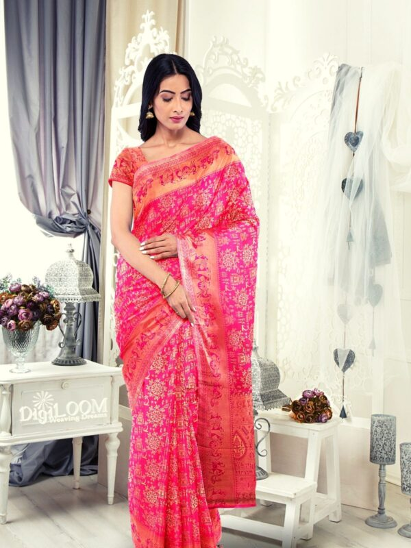 Handloom Malwari Silk in fuchsia pink colour with traditional tribal motifs 4