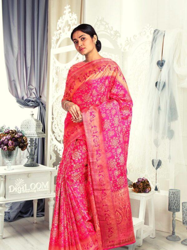 Handloom Malwari Silk in fuchsia pink colour with traditional tribal motifs 5