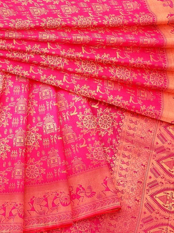 Handloom Malwari Silk in fuchsia pink colour with traditional tribal motifs 6
