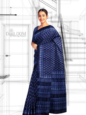 Handloom Moonga Mulberry Silk Saree in Indigo Blue with classic Indian motifs 1