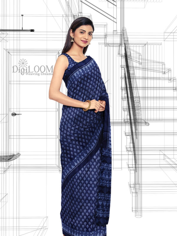 Handloom Moonga Mulberry Silk Saree in Indigo Blue with classic Indian motifs 2