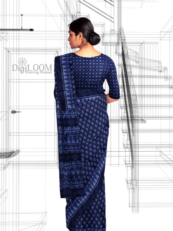 Handloom Moonga Mulberry Silk Saree in Indigo Blue with classic Indian motifs 3