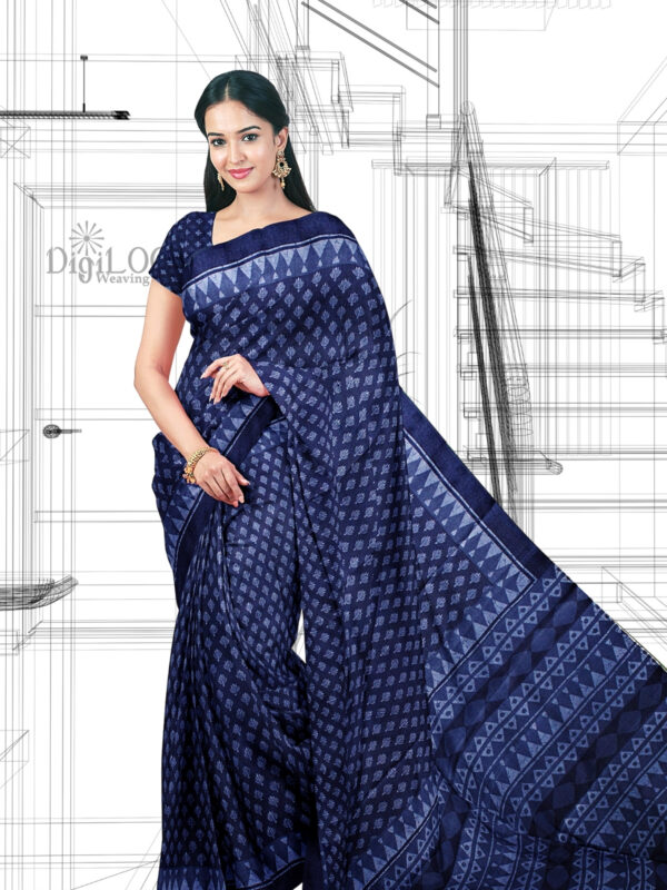 Handloom Moonga Mulberry Silk Saree in Indigo Blue with classic Indian motifs 4