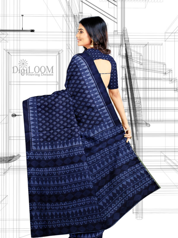 Handloom Moonga Mulberry Silk Saree in Indigo Blue with classic Indian motifs 6