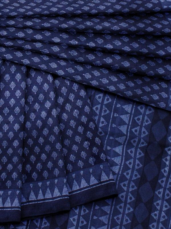 Handloom Moonga Mulberry Silk Saree in Indigo Blue with classic Indian motifs 7