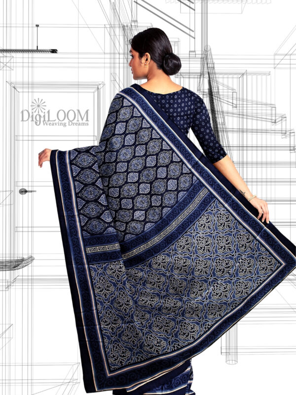 Handloom Moonga Mulberry Silk Saree in Indigo Colour with Traditional Motifs 4