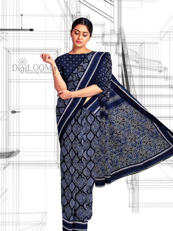 Handloom Moonga Mulberry Silk Saree in Indigo Colour with Traditional Motifs 6