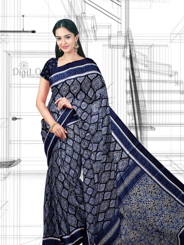 Handloom Moonga Mulberry Silk Saree in Indigo Colour with Traditional Motifs 7