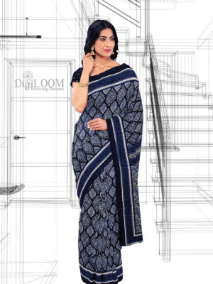 Handloom Moonga Mulberry Silk Saree in Indigo Colour with Traditional Motifs 8