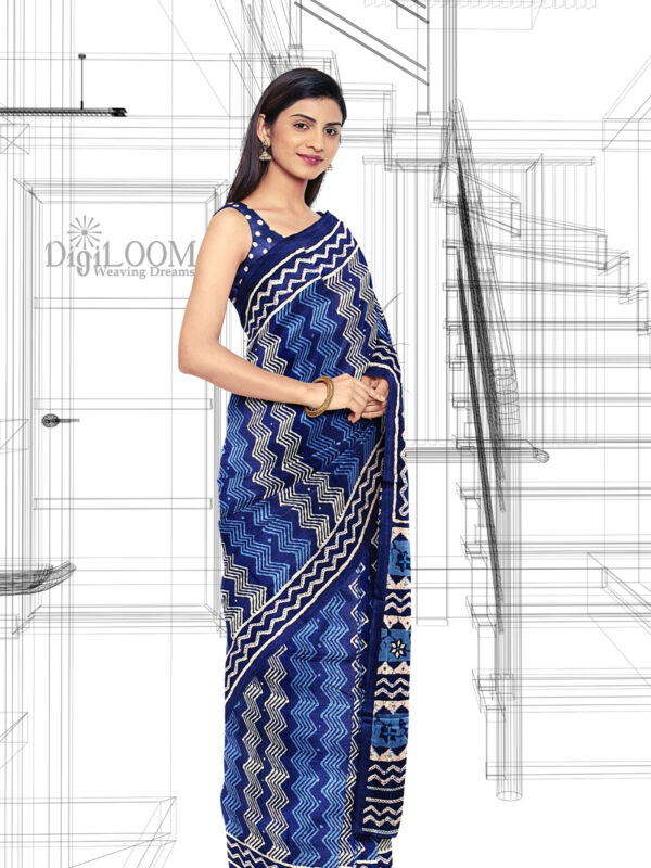Handloom Moonga Mulberry Silk Saree in Tints and Shades of Blue 2