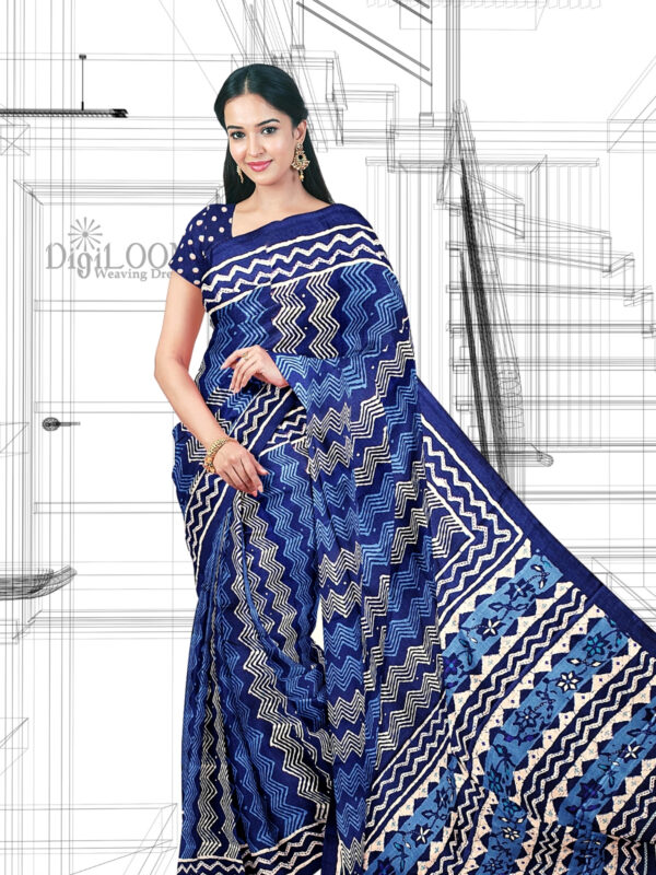 Handloom Moonga Mulberry Silk Saree in Tints and Shades of Blue 5