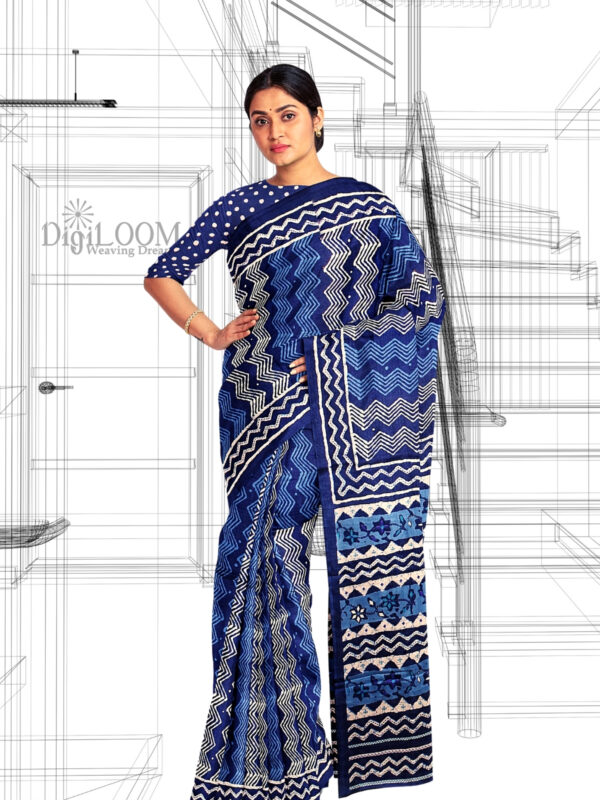 Handloom Moonga Mulberry Silk Saree in Tints and Shades of Blue 6