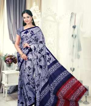Handloom Tussar Silk Saree with Siberian Crane Silhouettes Prints 1d