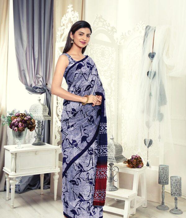 Handloom Tussar Silk Saree with Siberian Crane Silhouettes Prints 3d