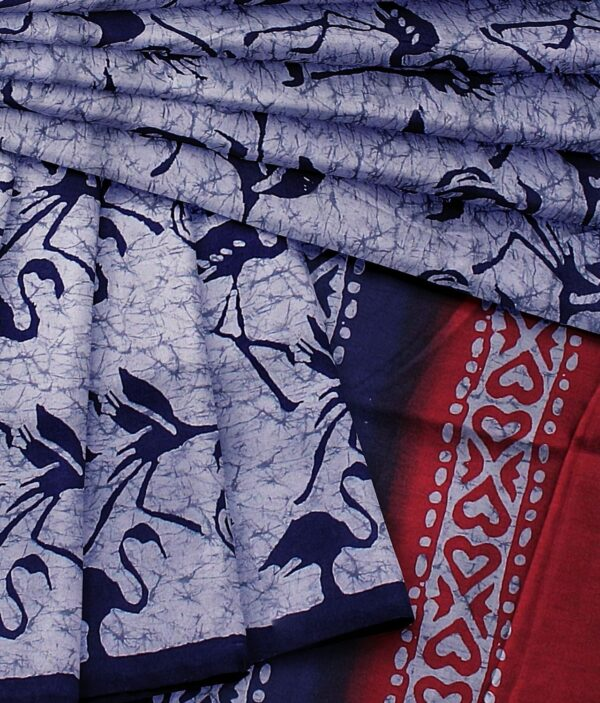 Handloom Tussar Silk Saree with Siberian Crane Silhouettes Prints 5d
