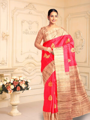 Hot Pink Pure Banarasi Handloom Silk Saree with Contrast Pallu 1