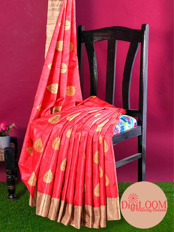 Hot Pink Pure Banarasi Handloom Silk Saree with Contrast Pallu 5