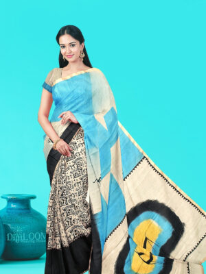 Moonga Cotton Saree with Quirky Block Prints and Hand Painted Pallu 1