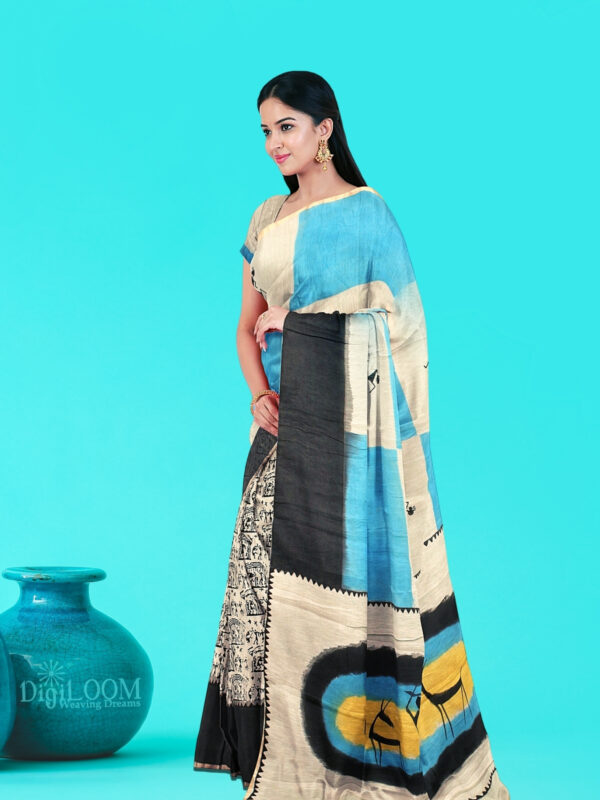 Moonga Cotton Saree with Quirky Block Prints and Hand Painted Pallu 2