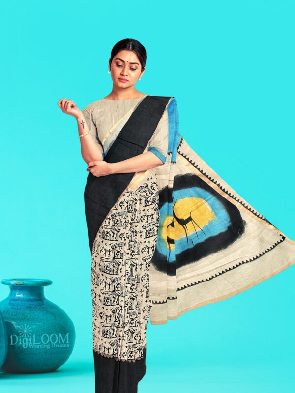 Moonga Cotton Saree with Quirky Block Prints and Hand Painted Pallu 4