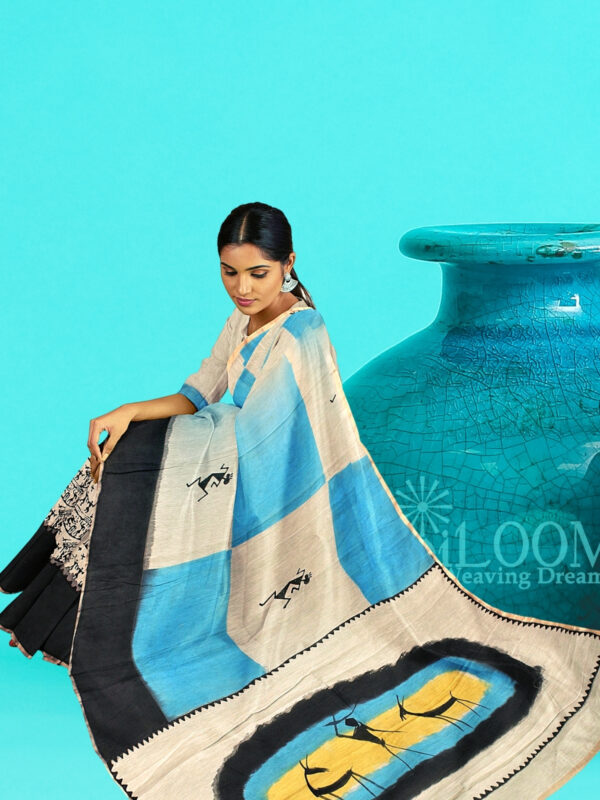 Moonga Cotton Saree with Quirky Block Prints and Hand Painted Pallu 5