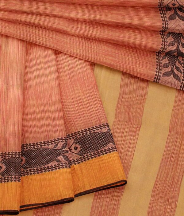 Orange coloured Bengal Handloom Cotton Saree with intricate fish 4