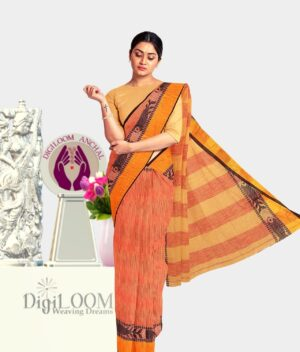 Orange coloured Bengal Handloom Cotton Saree with intricate fish motif 1