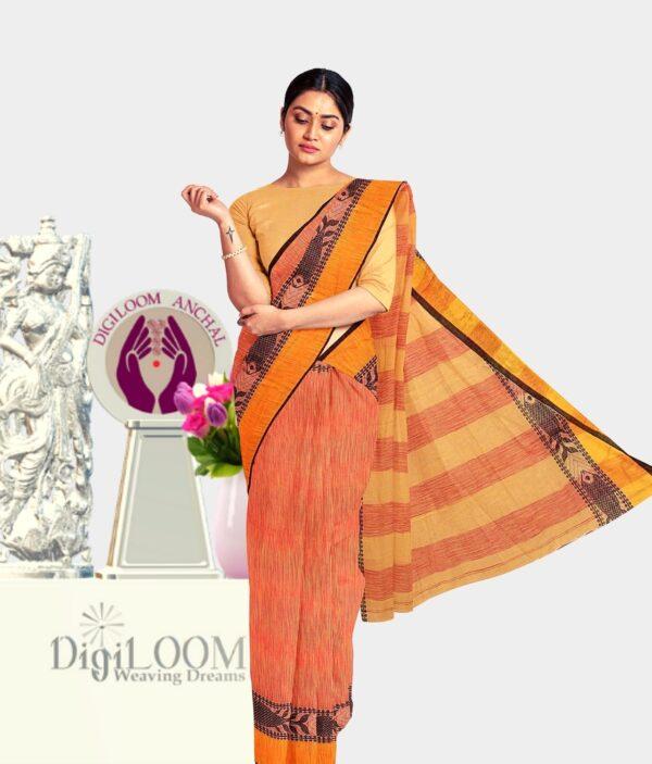 Orange coloured Bengal Handloom Cotton Saree with intricate fish motif 1