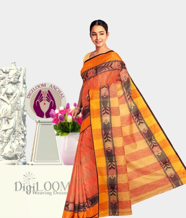 Orange coloured Bengal Handloom Cotton Saree with intricate fish motif 2