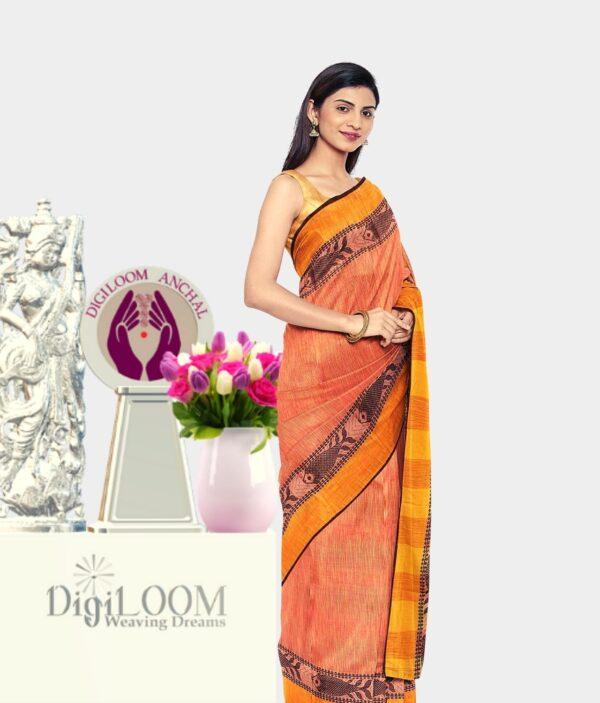 Orange coloured Bengal Handloom Cotton Saree with intricate fish motif 3