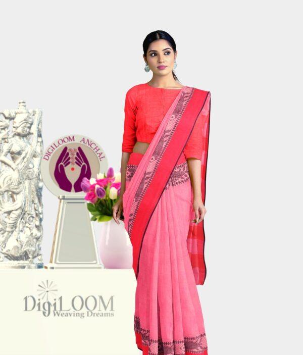 Pink Colour Bengal handloom Cotton Saree with intricate fish motif 1