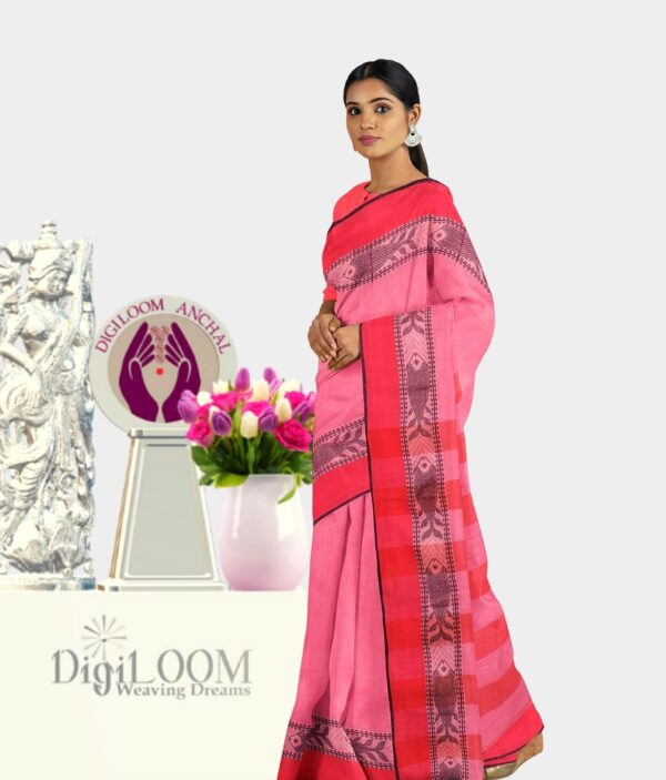 Pink Colour Bengal handloom Cotton Saree with intricate fish motif 3