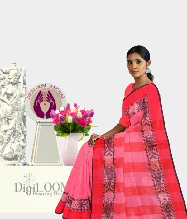 Pink Colour Bengal handloom Cotton Saree with intricate fish motif 4