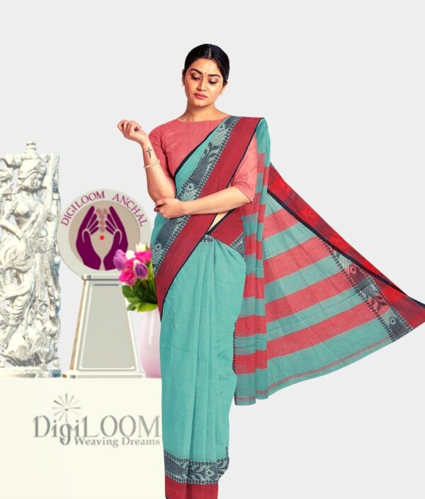 Turquoise Green Bengal Handloom Cotton Saree with intricate fish motif 3