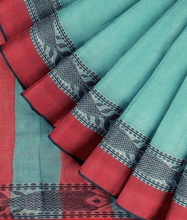 Turquoise Green Bengal Handloom Cotton Saree with intricate fish motif 4