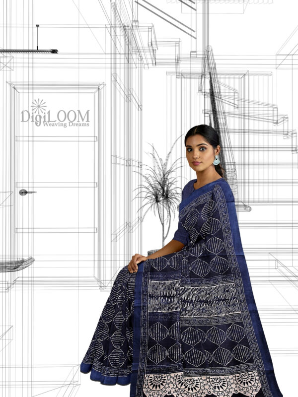 handloom Moonga Silk Saree in Indigo Colour with Digital Prints 1