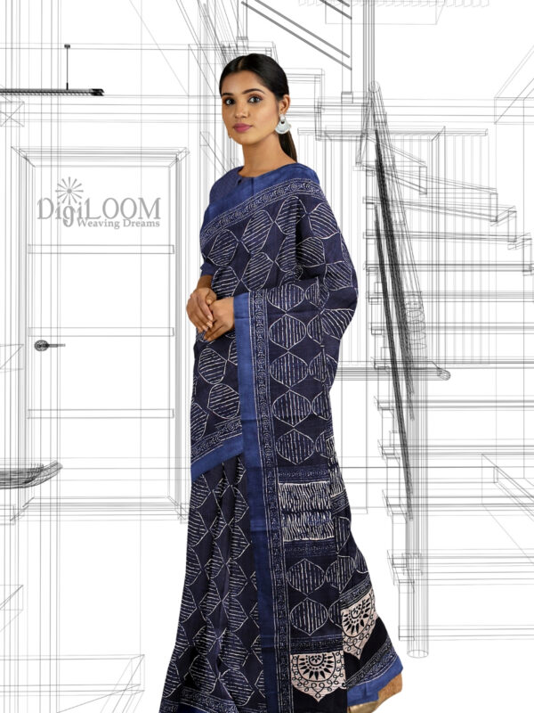 handloom Moonga Silk Saree in Indigo Colour with Digital Prints 2