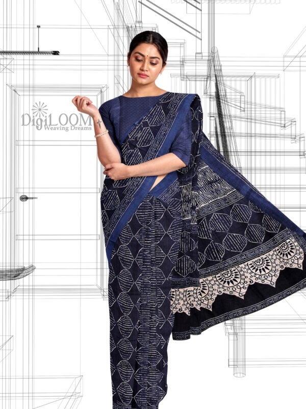 handloom Moonga Silk Saree in Indigo Colour with Digital Prints 3