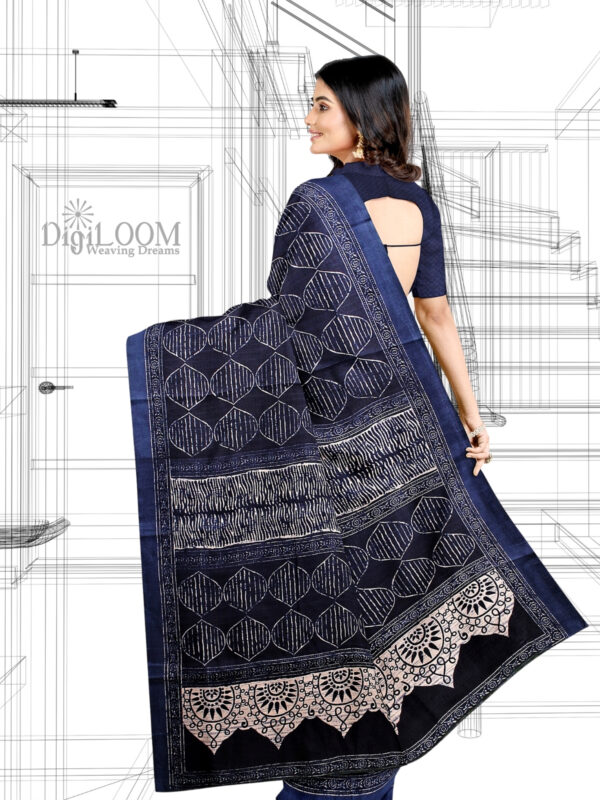 handloom Moonga Silk Saree in Indigo Colour with Digital Prints 4