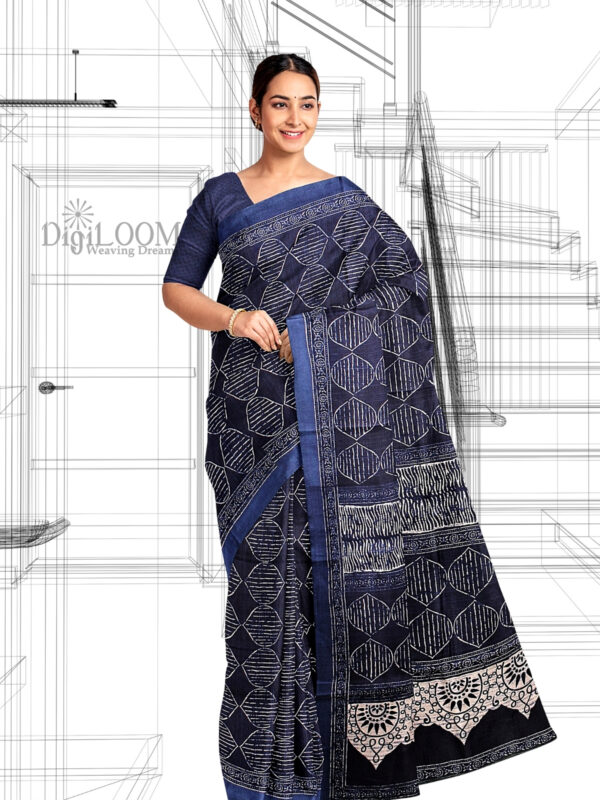 handloom Moonga Silk Saree in Indigo Colour with Digital Prints 5