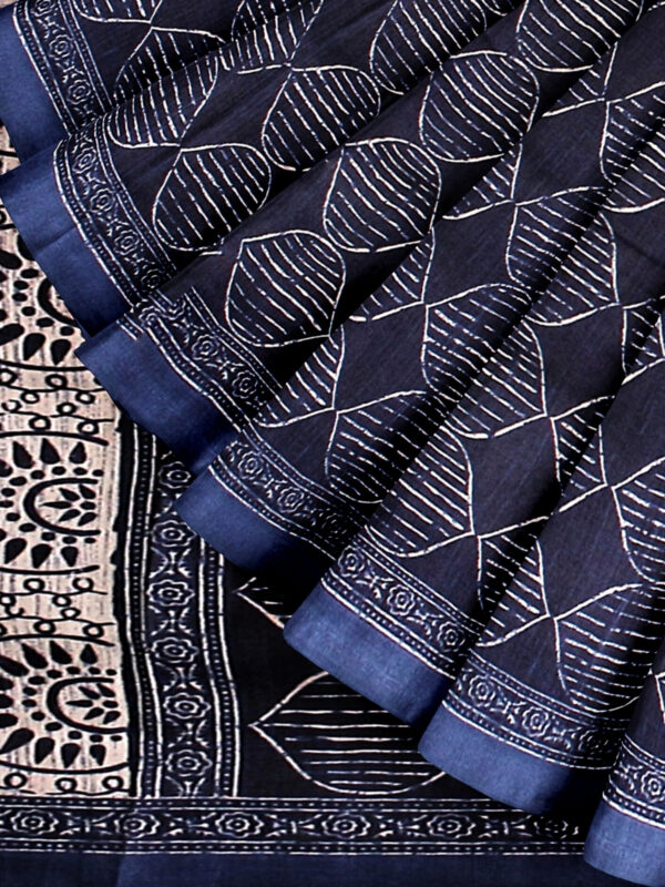 handloom Moonga Silk Saree in Indigo Colour with Digital Prints 7