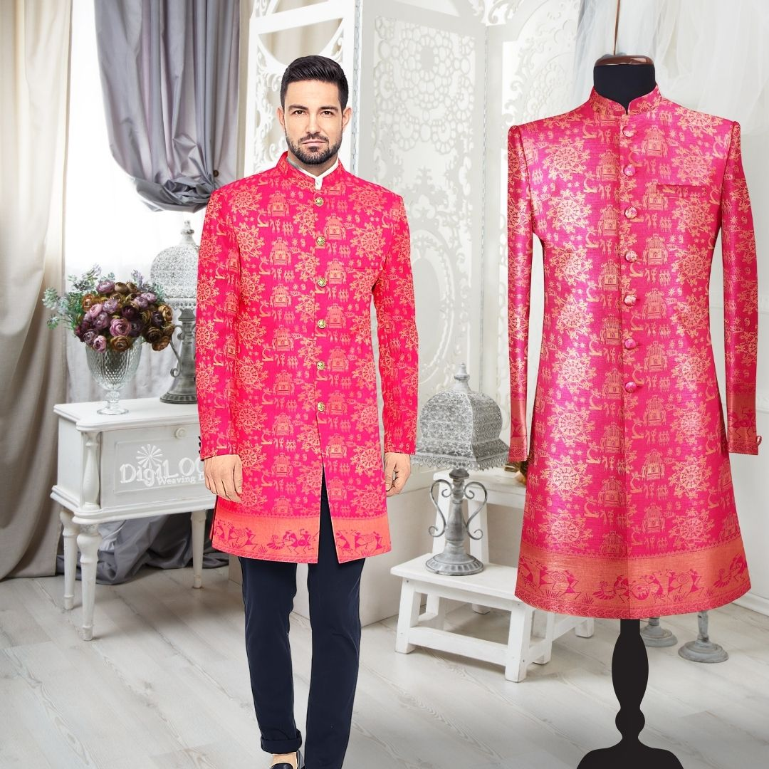 reusing old saree as sherwani