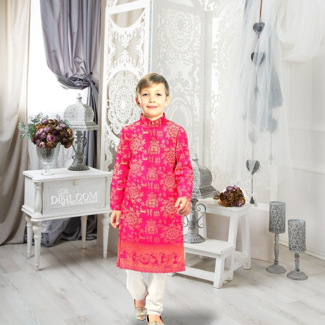 reusing saree as Kids kurta